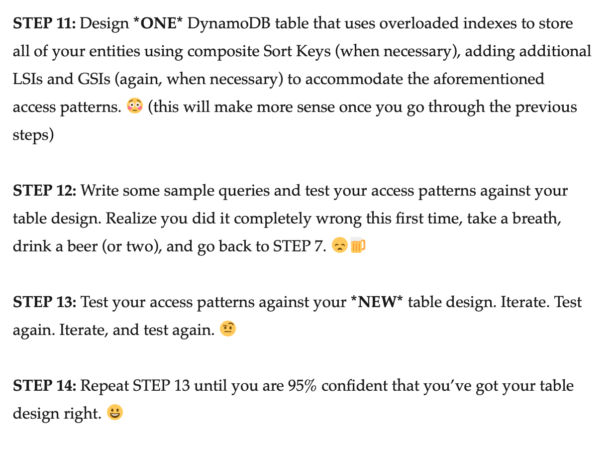 DynamoDB single-table design steps